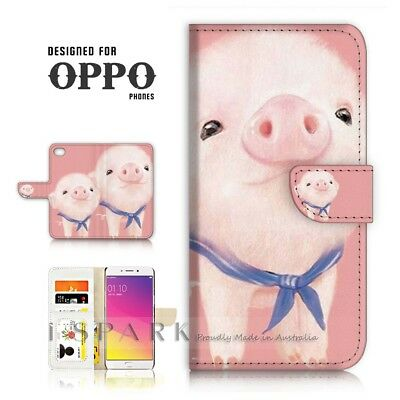 AU12.99 • Buy ( For Oppo A57 ) Wallet Case Cover P21440 Cute Pink Pig