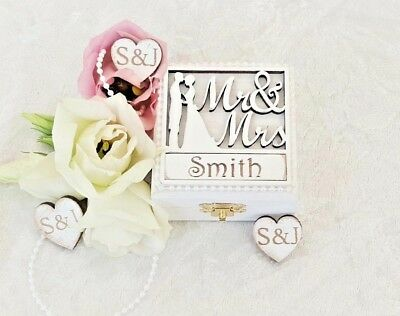 £27 • Buy Luxury Mr & Mrs Personalised Wooden Double Wedding Ring Bearer Box / Ring Pillow