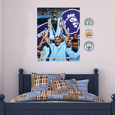Ederson CHAMPIONS 2018 Wall Mural Man City Decal Manchester City Wall Sticker • 19.99£