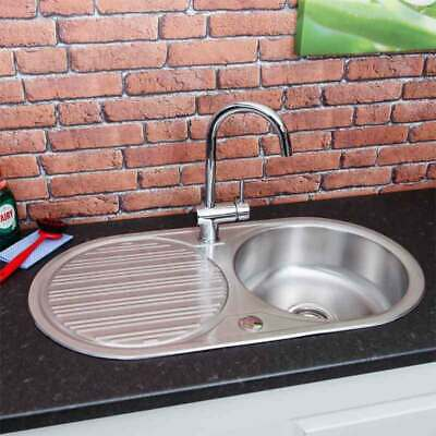 Stainless Steel Inset Round Kitchen Sink Single Bowl Reversible Drainer + Waste • 49.99£