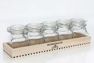 Small Glass Food Storage Jars Clip Top Lids Spice Herb Craft Wooden Tray Holder • 11.75£