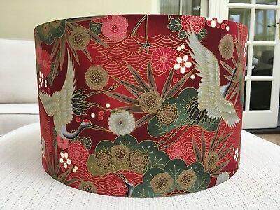 £35 • Buy Handmade Lampshade Japanese Oriental Cranes Fabric Floral Birds Exotic Red
