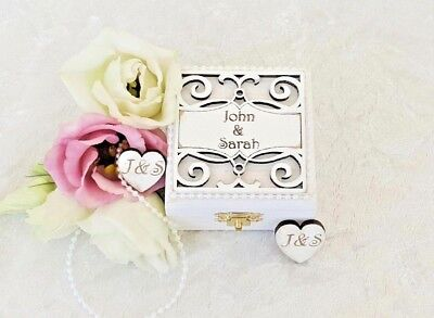 Personalised Wooden Double Wedding Ring Bearer Box / Ring Pillow • 22.75£