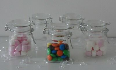 Mini Small Clear Glass Clip Lid Bottles Jars Party Sweets Wedding Table Favours • 11.75£