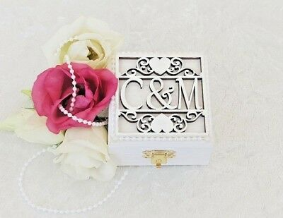 Luxury Personalised White Wooden Double Wedding Ring Bearer Box / Ring Pillow  • 22.75£
