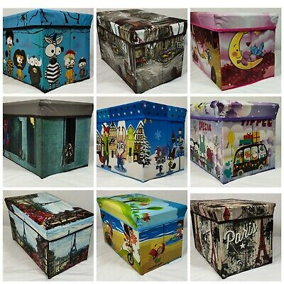 Kids Toy Box Boys Girls Books Holder Chest Clothes Storage Ottoman Stool Lid • 9.99£