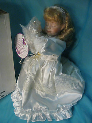 $ CDN12.09 • Buy Porcelain Keepsake Doll Praying Doll Blond Hair 15  In Box Lot #5