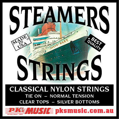 $ CDN10.23 • Buy Steamers Classical Guitar Strings, Tie On, Clear & Silver USA Made, FREE POSTAGE