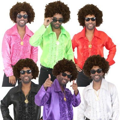 MENS 60s 70s DISCO COSTUME SHIRT RUFFLE ADULTS FANCY DRESS WIG GLASSES NECKLACE • 14.99£
