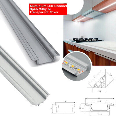 NEW 1 Meter Aluminium Extrusion 5050 LED Strip Light Cover PVC Profile Channel • 6.98£