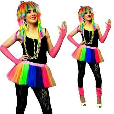 Neon 80's Uv Tutu Skirt Leg Warmer Beads Hen Night Fancy Dress Costume Rainbow • 4.99£