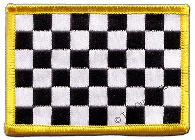 £2.66 • Buy Checkered Black-white Flag EMBROIDERED PATCH 8x6cm Badge