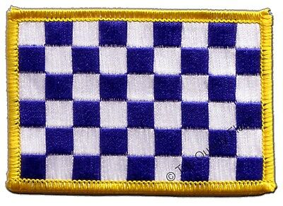 £3.66 • Buy Checkered Blue-white Flag EMBROIDERED PATCH 8x6cm Badge