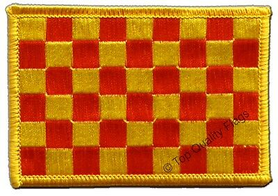 £3.66 • Buy Checkered Red Yellow Flag EMBROIDERED PATCH 8x6cm Badge