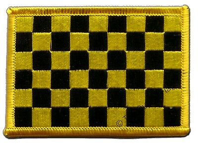 £3.66 • Buy Checkered Black-yellow Flag EMBROIDERED PATCH 8x6cm Badge