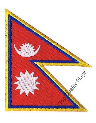 Nepal Flag EMBROIDERED PATCH 8x6cm Badge • 2.66£