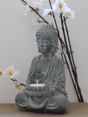 £10.95 • Buy Sitting Buddha Tealight Candle Holder Ornament Statue Stone Effect Home / Garden