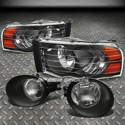 $92.23 • Buy For 02-05 Dodge Ram Black Housing Headlight Amber Corner+bumper Fog Light/lamp