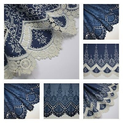 Embroidered / Broderie Anglaise / Lace Edged 100% Cotton Chambray Fabric Denim • 8.99£
