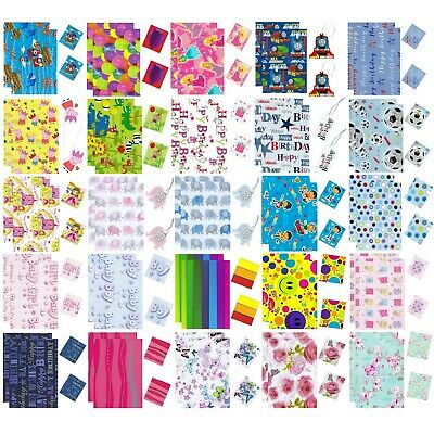 Over 120 Designs - 2 Sheets Birthday Gift Wrapping Paper With 2 Tags 50cm X 70cm • 2.49£