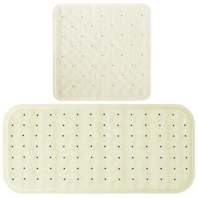 Non Slip Bath Shower Rubber Mat With Suction Cups Long And Square Bathtub Insert • 6.69£