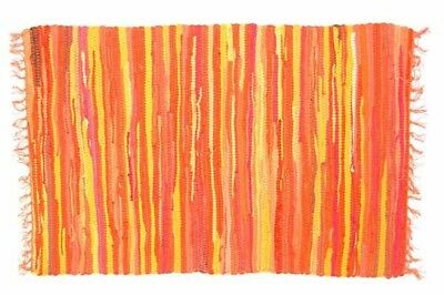 £11.99 • Buy RAG RUG FAIR TRADE INDIAN MAT HAND LOOMED BRAIDED RECYCLED COTTON 60x90cm ORANGE