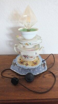 Old China Teapot And Plates Turned Into A Lamp P.A.T Tested • 45£