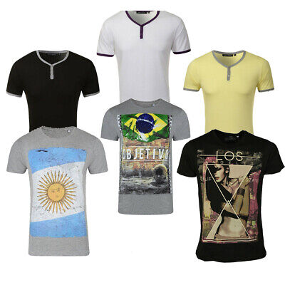Mens T-Shirt Button Up Crew Neck Casual Comfy Fitted Summer Top Sizes XS - 2XL • 4.99£