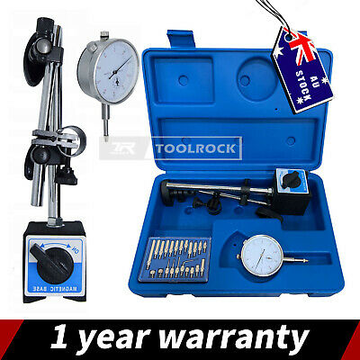 AU41.95 • Buy Toolrock 0-10mm Dial Indicator Gauge With Magnetic Base & 22 Indicator Point Set