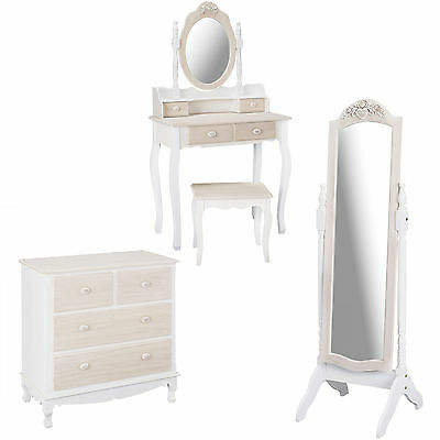 Louis French Style  Dressing Table Set, 2 Over 2 Chest & Cheval Mirror / Vintage • 489£