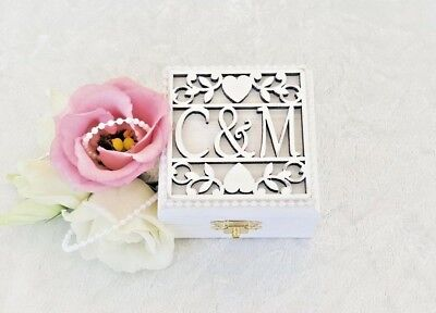 Personalised White Wooden Double Wedding Ring Bearer Box / Ring Pillow  • 22.75£