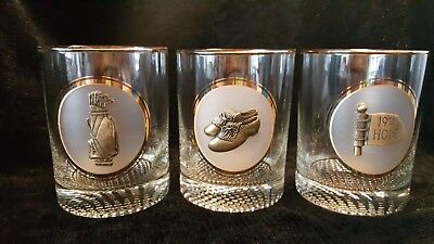 3 Golf Old Fashion Glasses With Pewter Medallions 19th Hole, Shoes, And Golf Bag • 7.15£