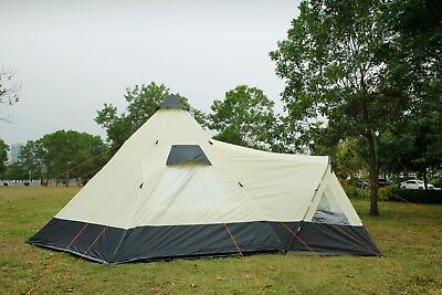 Tipi Tent 6M Zipped-in-Groundsheet Family Camping 12 Person Teepee 6 Meter Tent • 198£