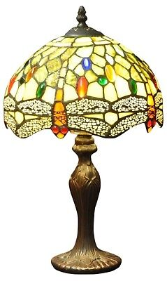 Tiffany Lamp Bedside Table Top Light Green Dragon Fly Design Multi Colour Decor • 90.99£