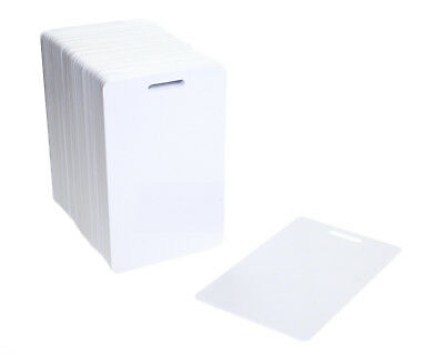 Vertical Blank White Slot Punched Plastic PVC Cards For Badge/Card Printers • 14.99£