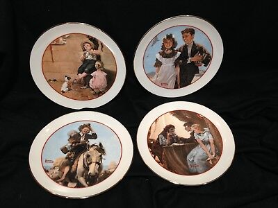 $ CDN31.47 • Buy Norman Rockwell Collector Plates Set Of 4 Young Love Series 1982 Japan