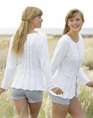 £1.99 • Buy Woman Ladies Fitted Cable Cardigan/Jacket Cotton Aran S - XXXL  Knitting Pattern