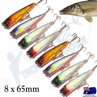 AU14.95 • Buy 8x Fishing Lures Hardbody 65mm Whiting Popper  Bream Flathead Poppers Topwater