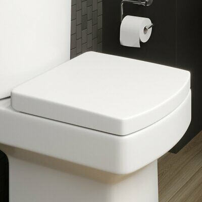 £23.99 • Buy Square Luxury Quick Release Soft Close WC Toilet Seat Top Fix Chrome Hinge Clean