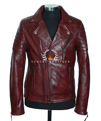 Wolverine Maroon Red Men's Movie Designer Real Quilted Lambskin Leather Jacket • 119.99£