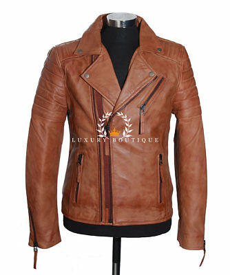 Wolverine Tan Men's Movie Designer Real Quilted Lambskin Leather Fashion Jacket • 119.99£