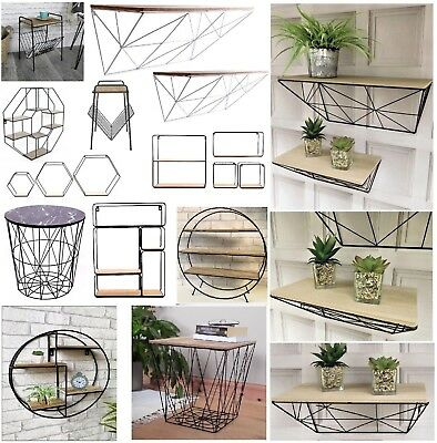 Vintage Wall Storage Unit Retro Wood Industrial Style Metal Wire Shelf Rack New • 18.95£