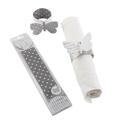 £2.95 • Buy 10 X Silver Butterfly Napkin Rings Reversible Wedding Table Decoration Supplies