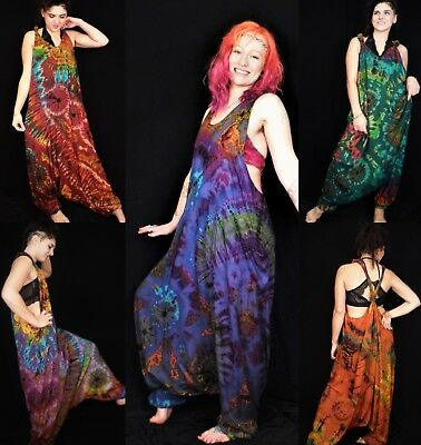 Tie Dye Harem Dungarees Hippie Bohemian Baggy Jumpsuit Brand New By Bare Canvas • 36£