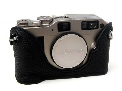$ CDN86.41 • Buy Leather Contax G1 Black With Black Stitching Half Case - BRAND NEW