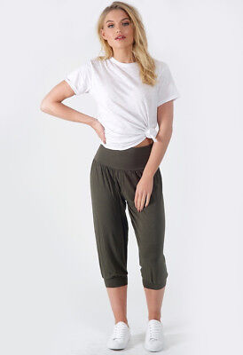 Womens Ladies Khaki Cropped Length Harem Trousers • 5.99£