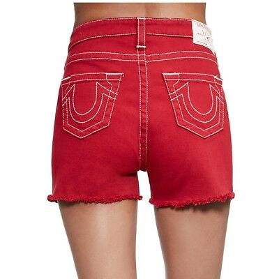 True Religion Women's High Waisted Cut Off Jean Shorts In Ruby Red • 60.57£