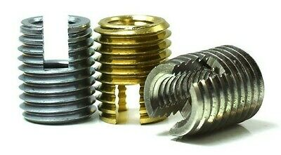 £4.59 • Buy Self Tapping Threaded Inserts Stainless Brass Steel Slotted Inserts M3 M4 M5 M6