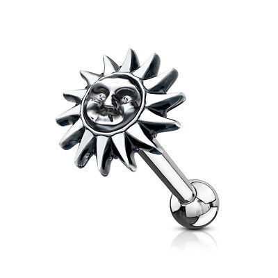 £2.99 • Buy Tribal Sun Antique Silver Plated Top Surgical Steel Ear Cartilage Barbell Stud