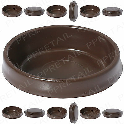 12x Large Brown Castor Cups ~FLOOR PROTECTOR GLIDES~ Furniture Carpet/Sofa/Chair • 5.45£
